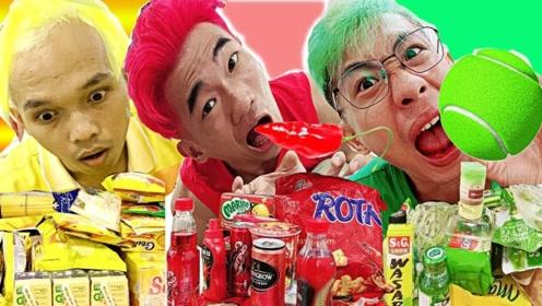 老外挑战只吃一种颜色的食物,甚至染了相应发色,网友:倒也不必