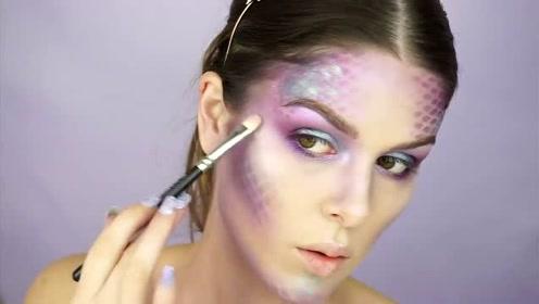 女子挑战美人鱼妆容:化妆打扮后你觉得漂亮吗?