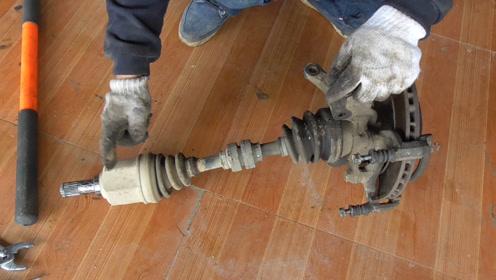 发动机大修拆发动机半轴,看看转向系和变速箱是如何联动的