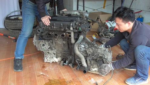 给东风日产发动机做大修,看看发动机和变速箱是如何分开的