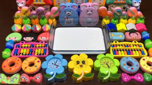 手工史莱姆教程,彩虹黏土+小花彩泥+甜甜圈彩泥+菠萝果冻泥,好玩解压