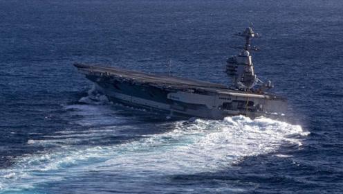 """巨舰漂移!美""""福特""""号航母测试高速转向 船身大幅倾斜看着好险"""
