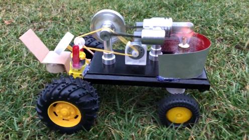 农民把斯特林发动机改装成玩具车,成品看起来真不错太有创意了