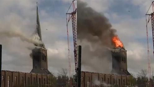 荷兰霍赫玛德教堂起火 塔尖在烈火中倒塌