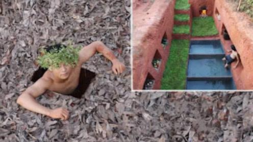 牛人回农村,在地下掏出豪华别墅,花园泳池应有尽有!