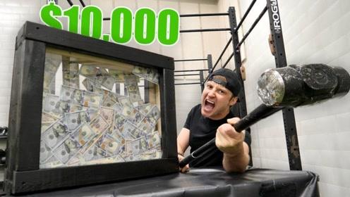 老外在防弹玻璃箱装10万美金,谁打碎就归谁,最后小哥机智了!