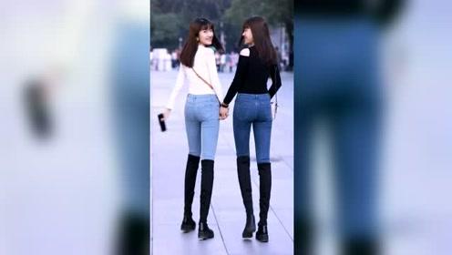 街拍美女,漂亮的双胞胎姐妹!