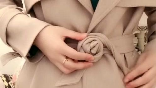 明星同款玫瑰花腰带这样系,超级简单,一看就会