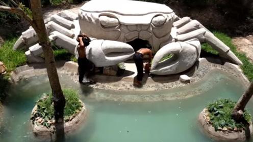 小伙野外打造豪华泳池,造型设计的太惊艳,星级酒店都没这么牛