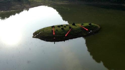 广西山里水库,无人机在小岛上发现3个人,你猜他们是怎样过去的