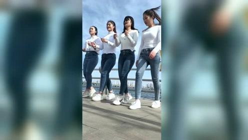 四姐妹穿牛仔裤跳舞,这大长腿真让人羡慕
