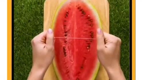 没有刀怎么切西瓜?用绳子也能代替!实在是太方便了