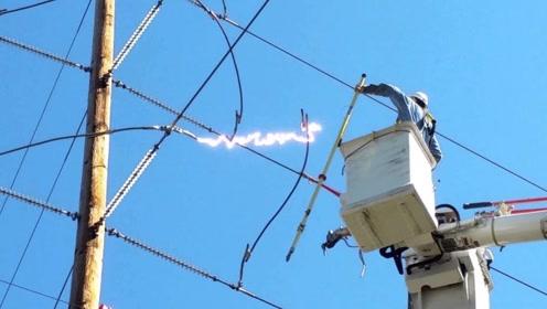 检查员将电缆剪断,下一秒出现大量电流,镜头记录全程!