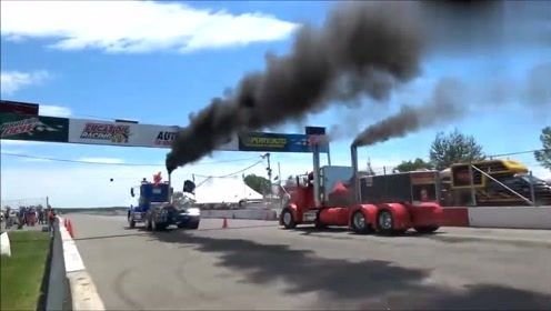 精彩大卡车直线加速比赛,轰大油门就冲!