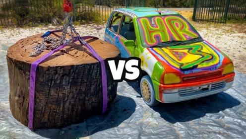 老外将木桩从45米高空扔下砸在汽车上,结果怎样?这得啥家庭条件