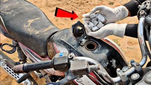 将金属钠放入摩托车油箱,等待五秒后,场面失控了!