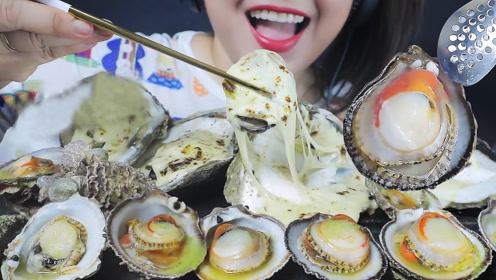 混搭成风的美味:肥嫩新鲜的牡蛎,加上芝士浸透更加美味