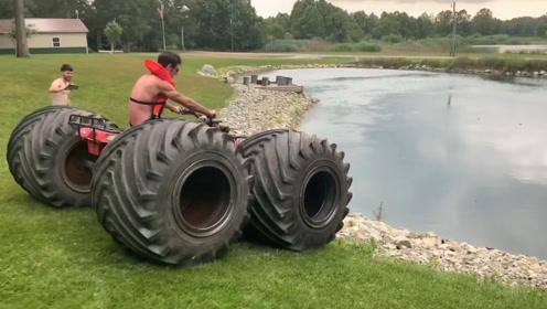 给沙滩车换上超大轮胎,下水的那一刻,惊喜才刚刚开始!