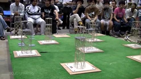 日本学生的建筑模型抗震实验比赛,看看最终获胜者的模型是怎样的?