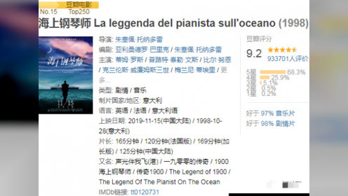 《海上钢琴师》时隔二十年重映的经典依然精彩