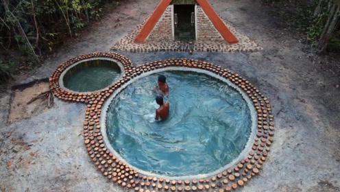 原始技术,两兄弟野外搭建庇护所,并在门口挖了两个游泳池