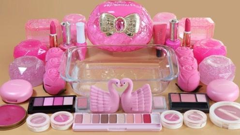 粉色史莱姆教程,解压透泰+指甲油+彩色果冻泥+大盒眼影,效果很赞!