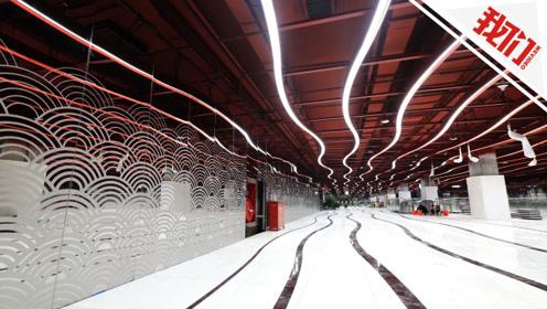 """广州最""""曲折""""地铁站走红:站内地面如""""波浪"""" 天花板LED线条与之呼应"""