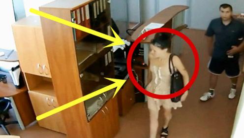 办公室空无一人,情侣两人进入,龌龊举动被监控拍下!