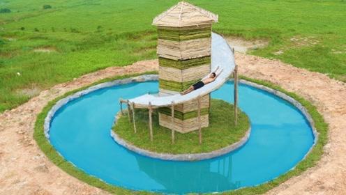 原始技术,小伙在野外空地挖游泳池,还建起高塔滑滑梯