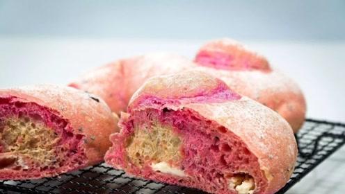 颜值逆天的网红款火龙果软欧包,在家轻松做,美味又营养!