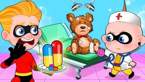 小孩不小心弄坏了玩具熊,妈妈和哥哥对熊进行手术,最后变得更好看了!