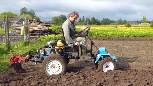 国外大叔发明微型犁地机,一天犁8亩地,仅需2000元造一台!