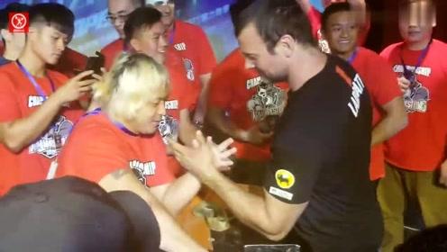 掰手腕世界冠军:德文的耐力有多强?在台湾车轮战选手看不到头