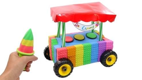 牛人用太空沙自制冰淇淋车,成品效果惊艳,网友:过程看完很解压