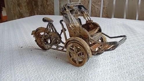 翻新一辆手扶倒三轮车,修复后才发现是个精品,太精致了