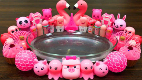 DIY史莱姆教程,粉色史莱姆材料大混合,有葡萄压力球、蛋糕泥、玻璃泥