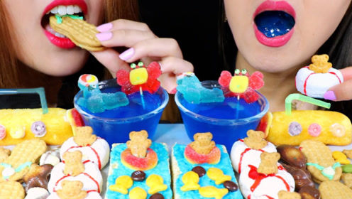 美女吃播吃流行创意美食,沙滩造型的甜点,好吃到停不下来!