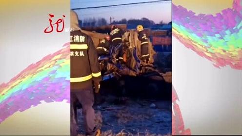 两辆大货车相撞 驾驶室严重变形 一人不幸遇难