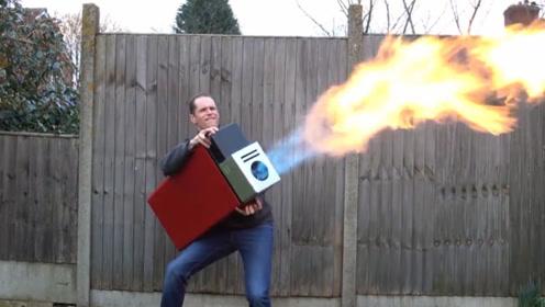 老外自制打火机,威力是寻常火机的1000倍,网友:借个火!