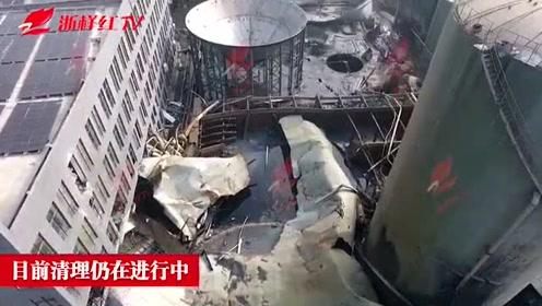 独家航拍海宁污水罐体坍塌事故现场
