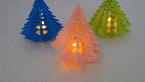 圣诞节手工系列,立体圣诞树的剪纸方法!