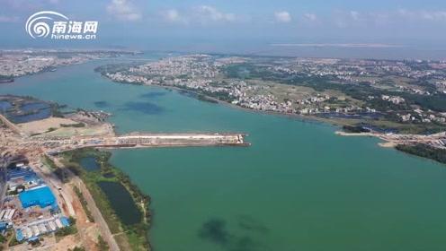 瞰海南·聚焦重点项目:海口文明东越江通道加速推进 总工程量完成近半