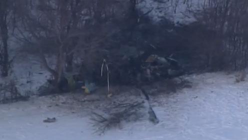 """实拍美军载3人""""黑鹰""""直升机坠毁现场:被找到时飞机已成残骸"""