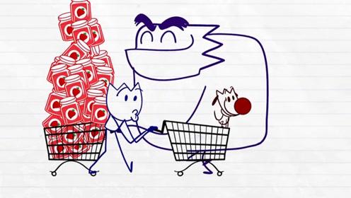 男孩带着小狗去超市买果酱,结果大胖紫紫承包了所有的果酱,他难过得哭了