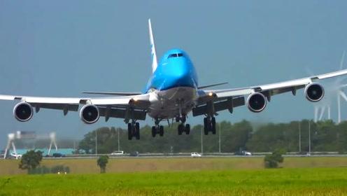 波音747客机,降落那一下,发动机都快擦到跑道上了