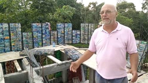 富豪用40000个瓶子,打造出一个城堡,还真佩服他的勇气