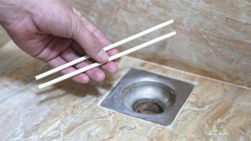 卫生间里放一双一次性筷子,下水道再也不怕堵了,方法简单实用!