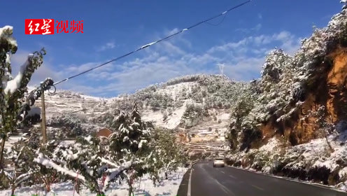四川凉山、攀枝花多地降雪,国道108线拖乌山路段中断