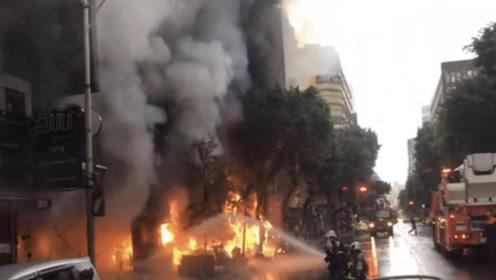 台北一大楼发生火灾 500名民众被疏散 现场民众:疑有人蓄意纵火