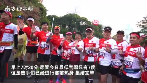 选手集结完毕,2019广马鸣枪开跑!珠江两岸最显眼的风景线